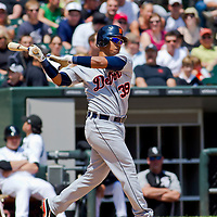 Chicago, IL - June 05, 2011:  Tigers, Ramon Santiago (39) bats against the Chicago White Sox at U.S. Cellular Field on June 5, 2011 in Chicago, IL.