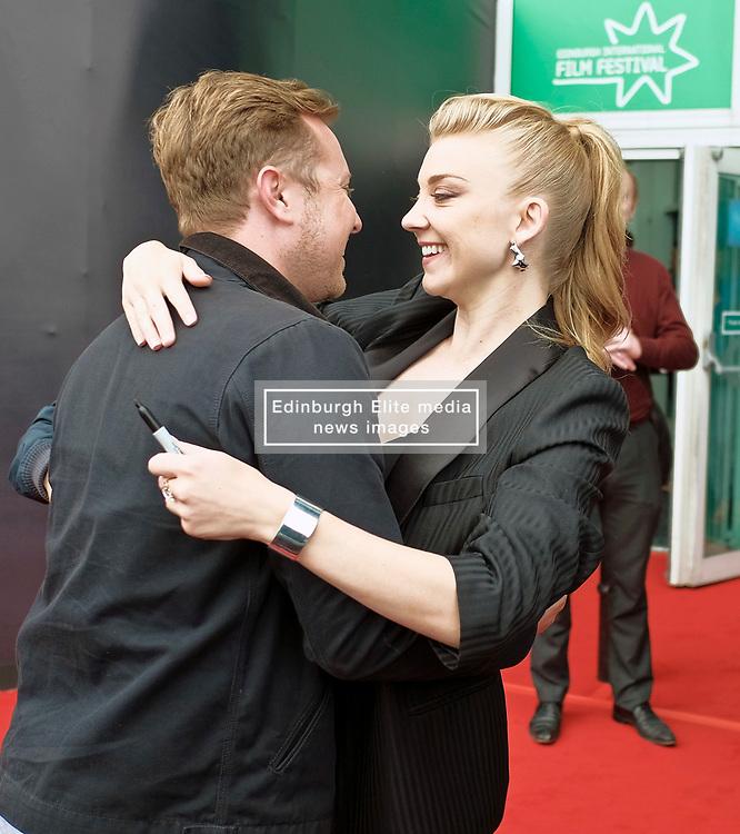 Edinburgh International Film Festival, Tuesday, 26th June 2018<br /> <br /> IN DARKNESS (EUROPEAN PREMIERE)<br /> <br /> Pictured:  Natalie Dormer greets Director of Photography Si Bell<br /> <br /> (c) Alex Todd | Edinburgh Elite media