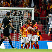 Galatasaray's and celebrates his goal Emre Colak, Burak Yilmaz, Sercan Yildirim, Selcuk İnan during their Turkish Super League soccer match Galatasaray between Akhisar Belediyespor at the TT Arena at Seyrantepe in Istanbul Turkey on Sunday 23 September 2012. Photo by TURKPIX