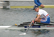 Munich, GERMANY, 28.08.2007, GBR LW1X, Andrea DENNIS. Checks her gate before the start of her Repechage Third day on the  Munich Olympic Regatta Course, venue for 2007 World Rowing Championship, Bavaria. [Mandatory Credit. Peter Spurrier/Intersport Images]..... , Rowing Course, Olympic Regatta Rowing Course, Munich, GERMANY