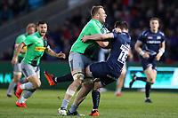 Rugby Union - 2018 / 2019 Gallagher Premiership - Sale Sharks vs. Harlequins<br /> <br /> Alex Dombrandt of Harlequins is tackled by Luke James of Sale Sharks, at the AJ Bell Stadium.<br /> <br /> COLORSPORT/PAUL GREENWOOD
