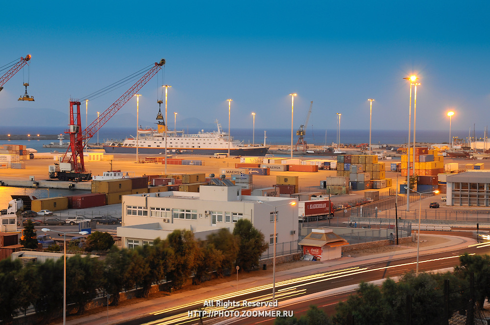 Night photo of cargo sea port in Heraklion, Crete (Greece)