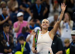 September 1, 2018 - Aryna Sabalenka of Belarus in action during her third-round match at the 2018 US Open Grand Slam tennis tournament. New York, USA. September 02th, 2018. (Credit Image: © AFP7 via ZUMA Wire)