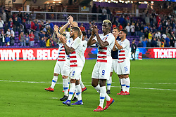 March 21, 2019 - Orlando, FL, U.S. - ORLANDO, FL - MARCH 21: United States forward Gyasi Zardes (9), United States defender DeAndre Yedlin (2) and teammates celebrate with fans after the International friendly match between the United States and Ecuador on March 21, 2019 at Orlando City Stadium in Orlando, FL. (Photo by Robin Alam/Icon Sportswire) (Credit Image: © Robin Alam/Icon SMI via ZUMA Press)