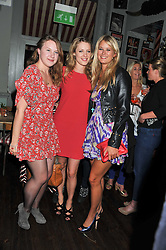 Left to right, GEORGINA STEWART, EMMA WIGAN and ELEANOR BALFOUR at a party to celebrate the opening of Bunga Bunga - a new Pizzeria & Bar, 37 Battersea Bridge Road, London SW11 on 1st September 2011.