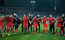 ZENICA, BOSNIA & HERZEGOVINA - Saturday, October 10, 2015: The Wales team celebrate after securing a place at next years Euro Championships after the Bosnia & Herzegovina vs Wales match at the Stadion Bilino Polje during the UEFA Euro 2016 qualifying Group B match. (Pic by Peter Powell/Propaganda)
