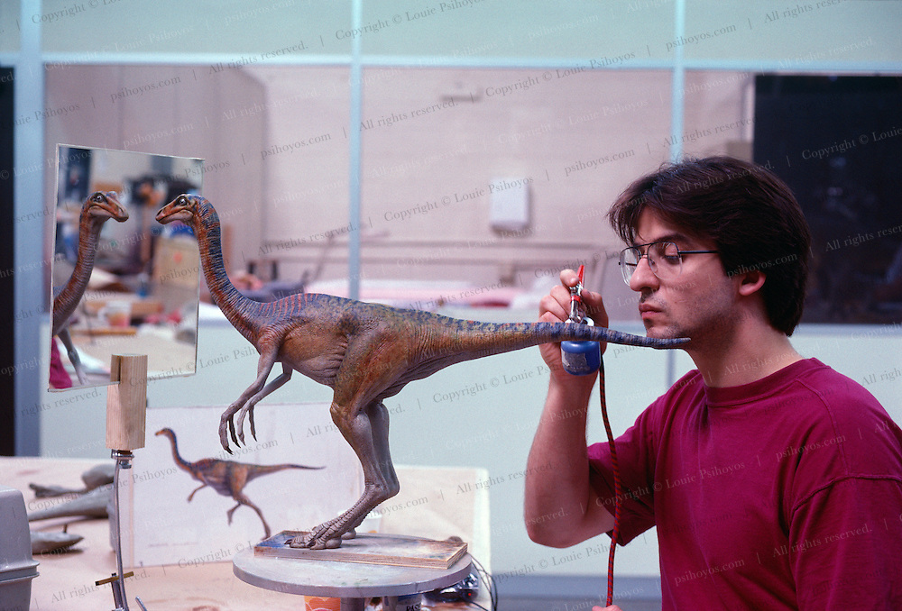 At Stan Winston Studios outside L.A. in Van Nuys, CA., the dinosaurs, like this Ornithomimus for Steven Spielberg's action epic, Jurassic Park are created.  Stan is one of Hollywoods most innovative character creators.