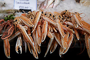 Langoustines for sale at a fishmongers at Borough Market in London, England, United Kingdom. Borough Market is a retail food market and farmers market in Southwark. It is one of the largest and oldest food markets in London, with a market on the site dating back to at least the 12th century. A farmers market is a physical retail marketplace intended to sell foods directly by farmers to consumers. Farmers markets may be indoors or outdoors and typically consist of booths, tables or stands where farmers sell fruits, vegetables, meats, cheeses, and sometimes prepared foods and beverages.