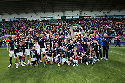 Falkirk players cele getting the second so=pot in the Scottish Championship. <br /> Falkirk 1 v 0 Morton, Scottish Championship game  played 1/5/2016 at The Falkirk Stadium.