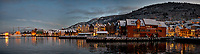 Bergan Harbor Panorama. Composite of 3 images taken with a Nikon D2xs camera and 12-24 mm f/4 lens (ISO 800, 24 mm, f/4, 1/15 sec).