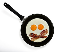 THEMENBILD - Spiegeleier mit Fruehstuecksspeck Bacon in Pfanne als Gesicht mit Augen // Fried eggs with bacon in pan as face with eyes. EXPA Pictures © 2015, PhotoCredit: EXPA/ Eibner-Pressefoto/ Weber<br /> <br /> *****ATTENTION - OUT of GER*****