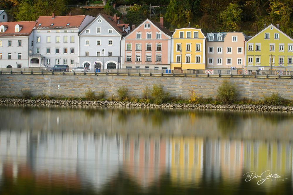 Danube River shoreline houses, Passau, Bavaria, Germany