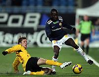 Fotball , 15. mars 2009 , Tippeligaen , Strømsgodset - Start 3-3<br /> Geir Ludvig Fevang  , Start og Alfred Sankoh , SIF