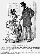 The Coming Race. The surgeon of the future. George du Maurier cartoon from 'Punch' London 14 September 1872 showing the patronising attitude women in the medical profession could expect from male colleagues. Engraving.