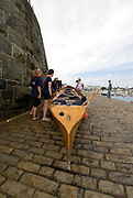 St Peter's Port, Guernsey, CHANNEL ISLANDS,   Launching the Cornish Gig, Practice day, 2006 FISA Coastal Rowing  Challenge, 01/09/2006.  Photo  Peter Spurrier, © Intersport Images,  Tel +44 [0] 7973 819 551,  email images@intersport-images.com