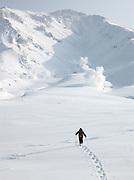 A hiker trekking in the snow in Daisetsuzan National Park, Hokkaid?, Japan