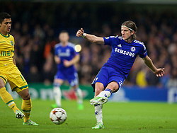 LONDON, ENGLAND - Wednesday, December 10, 2014: Chelsea's Filipe Luis in action against Sporting Clube de Portugal during the final UEFA Champions League Group G match at Stamford Bridge. (Pic by David Rawcliffe/Propaganda)
