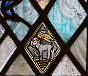 Church of Saint Andrew, Little Glemham, Suffolk, England, UK stained glass window Lamb of God, Agnus Dei, by Margaret Edith Aldrich Rope 1929