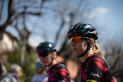 Alexis Ryan (Canyon//SRAM Cycling Team) waits with her team mates to sign on for the Trofeo Alfredo Binda - a 123.3km road race from Gavirate to Cittiglio on March 20, 2016 in Varese, Italy.