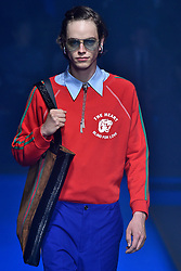 Model Hugo De Groot walks on the runway during the Gucci Fashion Show during Milan Fashion Week Spring Summer 2018 held in Milan, Italy on September 20, 2017. (Photo by Jonas Gustavsson/Sipa USA)
