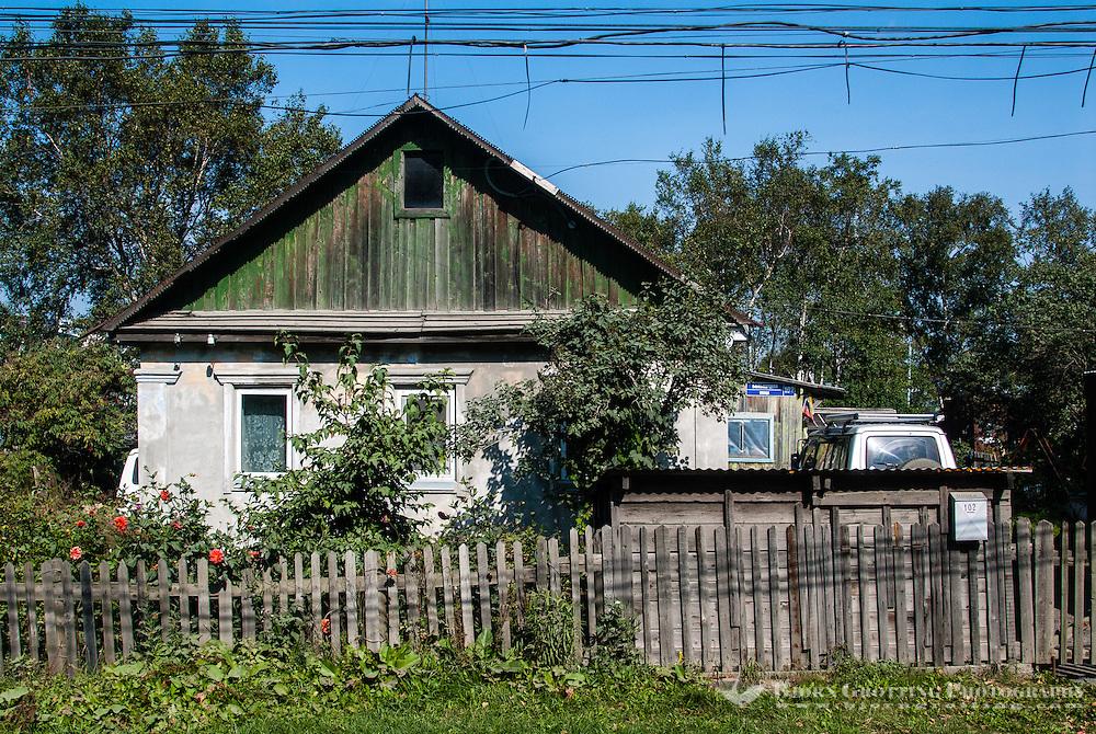 Russia, Sakhalin, Yuzhno-Sakhalinsk. A wooden house outside the city center.