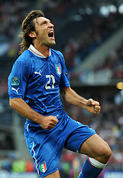 14-06-2012 VOETBAL: UEFA EURO 2012 DAY 7: POLEN OEKRAINE<br /> Andrea PIRLO (Italia) Goal celebration during the Euro 2012 football championships match Italy v Croatia at the stadium in Poznan. <br /> ***NETHERLANDS ONLY***<br /> ©2012-FotoHoogendoorn.nl