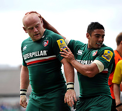 Leicester Tigers prop Dan Cole is congratulated by centre Dan Bowden after the pack score a try - Photo mandatory by-line: Patrick Khachfe/JMP - Tel: Mobile: 07966 386802 - 08/09/2013 - SPORT - RUGBY UNION - Welford Road Stadium - Leicester Tigers v Worcester Warriors - Aviva Premiership.