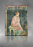 Roman fresco wall painting of a women thinking from the Villa Arianna (Adriana), Stabiae (Stabia) near Pompeii , inv 9097, Naples National Archaeological Museum , grey art background .<br /> <br /> If you prefer to buy from our ALAMY PHOTO LIBRARY  Collection visit : https://www.alamy.com/portfolio/paul-williams-funkystock - Scroll down and type - Roman Fresco Naples  - into LOWER search box. {TIP - Refine search by adding a background colour as well}.<br /> <br /> Visit our ROMAN ART & HISTORIC SITES PHOTO COLLECTIONS for more photos to download or buy as wall art prints https://funkystock.photoshelter.com/gallery-collection/The-Romans-Art-Artefacts-Antiquities-Historic-Sites-Pictures-Images/C0000r2uLJJo9_s0