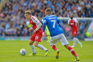 Portsmouth Midfielder, Stuart O'Keefe (7) closes down Fleetwood Town Midfielder, George Glendon (18) during the EFL Sky Bet League 1 match between Portsmouth and Fleetwood Town at Fratton Park, Portsmouth, England on 16 September 2017. Photo by Adam Rivers.