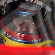 Sprint Cup Series driver Juan Pablo Montoya (42) in his car at Daytona International Speedway on February 18, 2011 in Daytona Beach, Florida. (AP Photo/Alex Menendez)