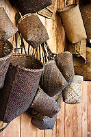 Handicrafts for sale made by the locals hang along the walls of Nanga Sumpa Longhouse.
