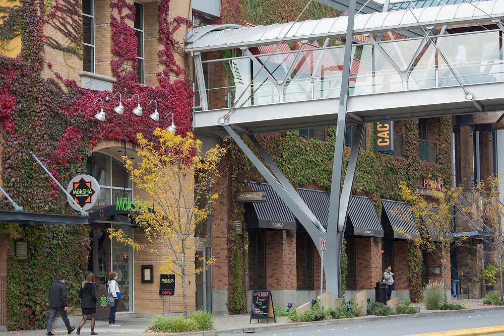 USA, Washington, Bellevue. Restaurants and pedestrian skybridge downtown.