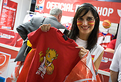 Spanish fan buying official T-shirt before the EuroBasket 2009 Semi-final match between Slovenia and Serbia, on September 19, 2009, in Arena Spodek, Katowice, Poland.  (Photo by Vid Ponikvar / Sportida)