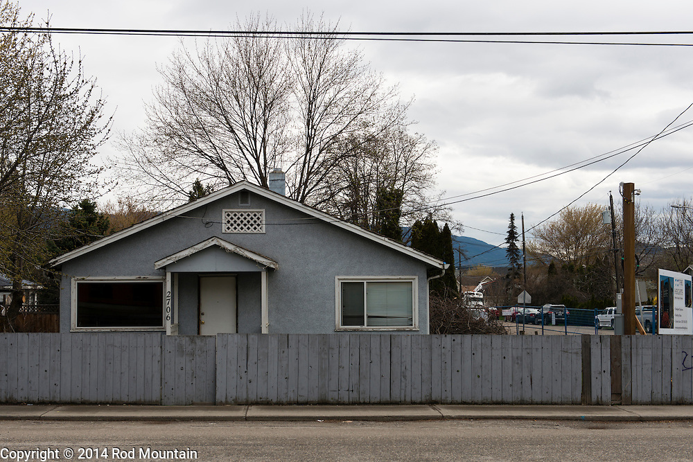 Modest home slated for development near 27th Street in Vernon, British Columbia.