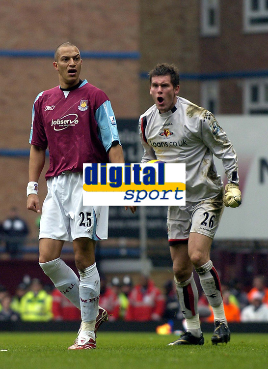 Photo: Olly Greenwood.<br />West Ham United v Watford. The Barclays Premiership. 10/02/2007. West Ham's Bobby Zamora can't believe the linesman flagged a foul after challenging Watford's Ben Foster