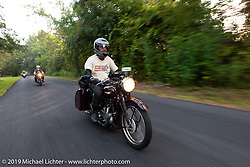 Keith Martin riding his 1938 Triumph 500 cc Speed Twin in the Cross Country Chase motorcycle endurance run from Sault Sainte Marie, MI to Key West, FL. (for vintage bikes from 1930-1948). 287 mile ride of Stage-8 from Tallahassee to Lakeland, FL USA. Friday, September 13, 2019. Photography ©2019 Michael Lichter.