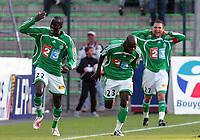 Fotball<br /> Frankrike<br /> Foto: Dppi/Digitalsport<br /> NORWAY ONLY<br /> <br /> FOOTBALL - FRENCH LEAGUE CUP 2006/2007 - 1/8 FINAL - AS SAINT-ETIENNE v OLYMPIQUE MARSEILLE - 25/10/2006<br /> <br /> JOY FOUSSENI DIAWARA / HERITA ILUNGA (ASSE) AFTER THE FOUSSENI DIAWARA'S GOAL