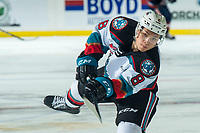 KELOWNA, BC - DECEMBER 27: Trevor Wong #8 of the Kelowna Rockets takes a shot during warm up against the Kamloops Blazers  at Prospera Place on December 27, 2019 in Kelowna, Canada. (Photo by Marissa Baecker/Shoot the Breeze)