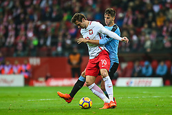 November 10, 2017 - Warsaw, Poland - Matias Vecino (URU), Grzegorz Krychowiak (POL)  in action during the international friendly match between Poland and Uruguay at National Stadium on November 10, 2017 in Warsaw, Poland. (Credit Image: © Foto Olimpik/NurPhoto via ZUMA Press)