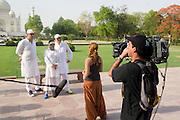 India, Uttar Pradesh, Agra, The Taj Mahal The three Israeli Judges of the Israeli version of American Idol on site scouting for talent Left to right Zvika Hadar Margalit Tzanani and Gal Uchovski