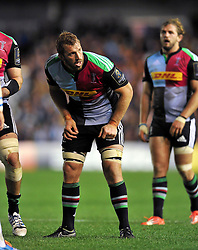 Chris Robshaw of Harlequins looks on - Photo mandatory by-line: Patrick Khachfe/JMP - Mobile: 07966 386802 17/10/2014 - SPORT - RUGBY UNION - London - Twickenham Stoop - Harlequins v Castres Olympique - European Rugby Champions Cup