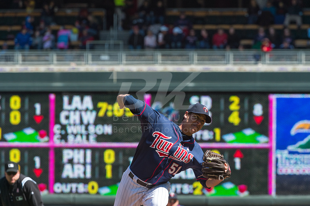 Anthony Swarzak #51 of the Minnesota Twins pitches against the Baltimore Orioles on May 12, 2013 at Target Field in Minneapolis, Minnesota.  The Orioles defeated the Twins 6 to 0.  Photo: Ben Krause