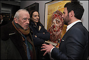 David Bailey, Catherine Bailey, Antony Micallef , Antony Micallef private at Lazarides Rathbone, 11 RATHBONE PLACE, London. 12 February 2015