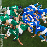 The scrum collapses during the Ireland V Italy Pool C match during the IRB Rugby World Cup tournament. Otago Stadium, Dunedin, New Zealand, 2nd October 2011. Photo Tim Clayton...