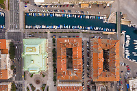 Aerial view above of marina at a canal in the middle of Rijeka, Croatia.