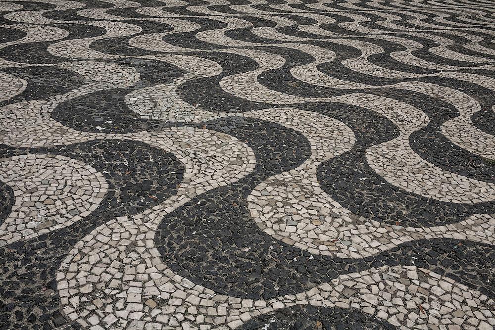 Brazil, Amazonas, rio Negro, Manaus. Place de l'opera, detail du sol.