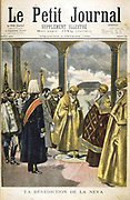 Ceremony of blessing the river Neva, St Petersburg, by Russian Orthodox priests, 1895. The blessing of the Neva was an annual event, which took place in the presence of the Tsar. From 'Le Petit Journal'. (Paris, 3 February 1895).