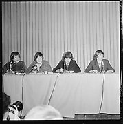 Y-650822A-01. Beatles at Memorial Coliseum press conference. August 22, 1965