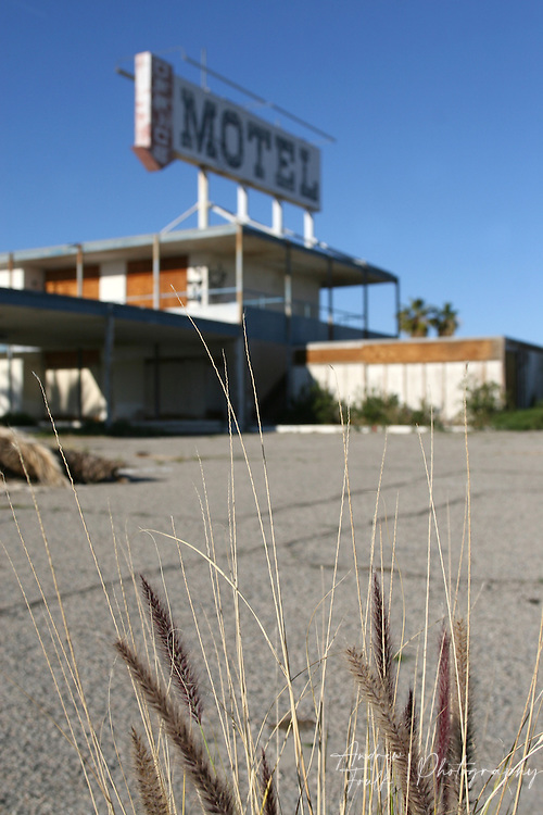 Weeds grow up from the parking lot of a closed motel in the North Shore.