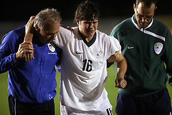 Etien Velikonja of Slovenia was injured during the Qualifications for UEFA U-21 EC 2009 soccer match between Slovenia and Finland at Velenje stadion At lake, on September 9,2008, in Velenje, Slovenia.  (Photo by Vid Ponikvar / Sportal Images)